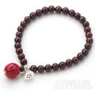 Natural Garnet and Thailand Silver Lotus Seedpod and Immitation Coral Lotus Stretch Bangle Bracelet