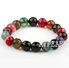 10mm Natürliche Faceted Multi Color Burst-Musters Achat Elastic Armreif