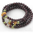 Garnet naturel bracelet Bangle Wrap avec Tiger Eye et Garnet et Crystal Clear