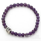Natural Faceted Amethyst and Tibet Silver Buddha's Head Stretch Bangle Bracelet
