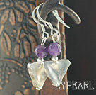 Wholesale Triangle Shape Thailand Silver and Amethyst Earrings with 925 Sterling Silver Hooks