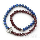 Round Lapis and Garnet Beaded Stretch Bangle Bracelet with Silver Accessory