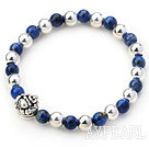 Round Lapis and Silver Beads Stretch Bangle Bracelet with Silver Laugh Buddha Accessory