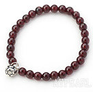 5mm Round Garnet Stretch Bangle Bracelet with Silver Lotus Accessory