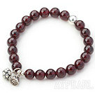 8mM A Class Round Garnet Stretch Bangle Bracelet with Silver Lotus Accessory