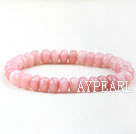 Faceted Indonesia Pink Jade Elastic Bangle Bracelet