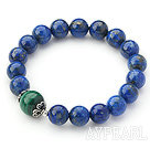 10mm Round Lapis and Malachite Beaded Stretch Bangle Bracelet with Sterling Silver Accessory