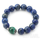 12mm Round Lapis and Malachite Beaded Stretch Bangle Bracelet with Sterling Silver Accessory