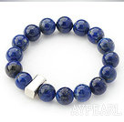 12mm Round Lapis Beaded Stretch Bangle Bracelet with Thai Silver Accessory