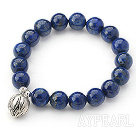10mm Round Lapis Stretch Beaded Bangle Bracelet with Sterling Silver Lotus