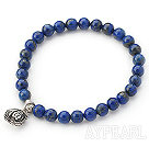 6mm Round Lapis Stretch Beaded Bangle Bracelet with Sterling Silver Accessory