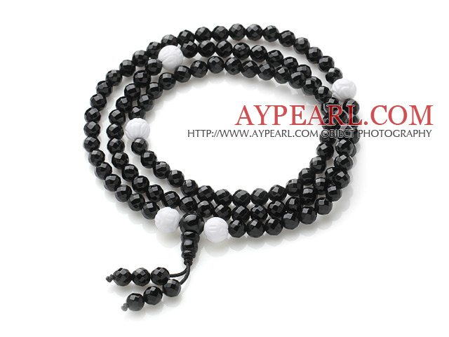 Faceted Black Agate and Lotus Shape White Sea Shell Prayer Bracelet ( Total 108 Beads, can also be necklace)