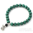 A Grade Malachite and Black Agate Stretch Bangle Bracelet with Sterling Silver Pause Accessory