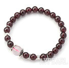 A Grade Round Garnet and Rose Quartz Stretch Bangle Bracelet with Sterling Silver Accessory