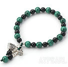 Malachite and Black Agate Beaded Stretch Bangle Bracelet with Silver Lotus Seedpod