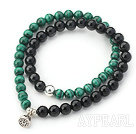 Black Agate and Malachite Beaded Wrap Bangle Bracelet with Silver Lotus Seedpod