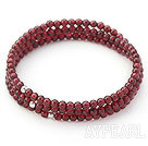 En Grade 3mm Garnet Wrap Bangle Beaded Bracelet