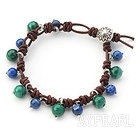 Lapis and Malachite leather Bracelet with Sterling Silver Accessories
