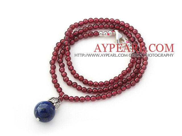 A Grade Lapis Beaded Necklace with Lapis Pendant and Sterling Silver Accessories