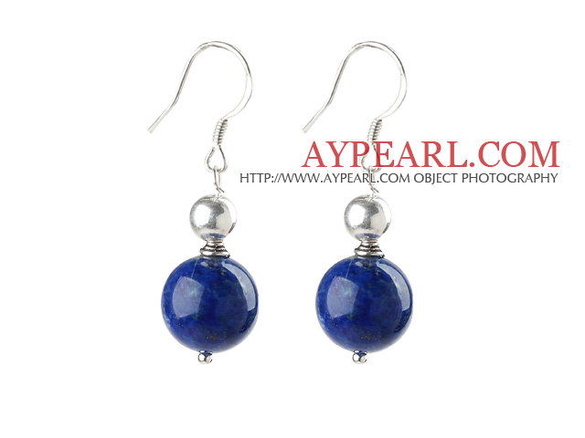 Simple Design Lapis Earrings with Sterling Silver Beads