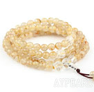 Natural Golden Rutilated Quartz and Clear Crystal Rose Flower Prayer Bracelet ( Rosary Bracelet)