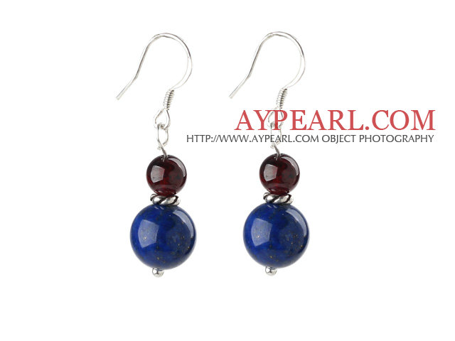 A Grade Garnet and Lapis Earrings with Sterling Silver Accessories