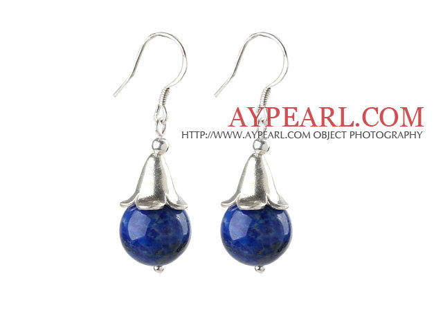 Simple Design Lapis Earrings with Sterling Silver Flower Accessories