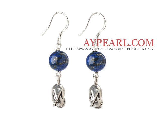 Classic Design Lapis Earrings with Sterling Silver Flower Accessories