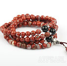 Natural Red Jasper Prayer Bracelet with Black Agate and Sterling Silver Beads ( Rosary Bracelet can also be necklace)