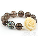 Natural Faceted Smoky Quartz and Mosaic Abalone Shell and Rose Flower Elastic Bangle Bracelet