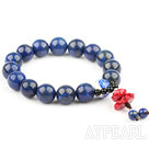 Natural Lapis and Porcelain Bead and Imitation Coral Lotus Elastic Bangle Bracelet
