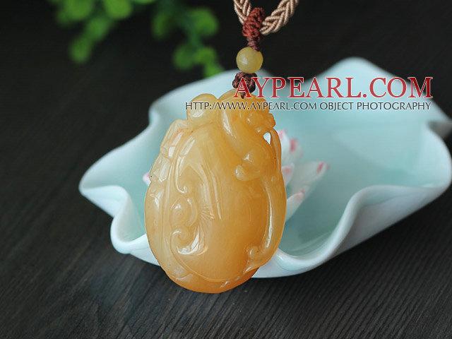 China Style A Grade Huanglong Jade Animal Shape Pendant
