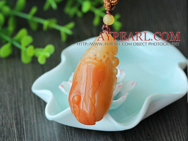 Beautiful Color Huanglong Jade Pendant with Brown Thread