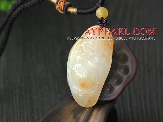 A Grade Huanglong Jade Maitreya Pendat with Brown Thread