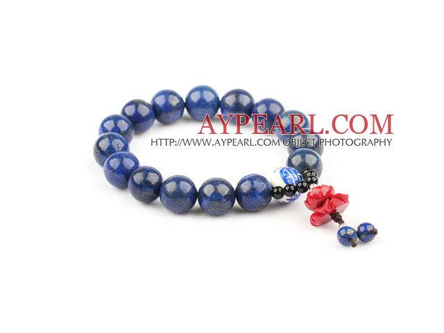 Natural Lapis and Porcelain Bead and Imitation Coral Lotus Elastic Bangle Bracelet
