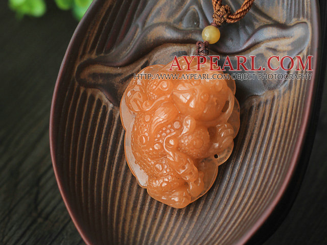 A Grade Huanglong Jade Pendant Necklace with Brown Thread