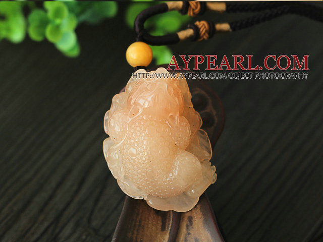 Rare Color Luanglong Jade Animal Shape Pendant Necklace with Brown Thread