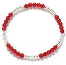 Assorted 3-4mm Round Carnelian and Silver Beaded Stretch Bangle Bracelet