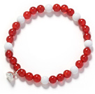 A Grade 6mm Red Carnelian and White Porcelain Stone and Silver Lotus Seedpod Stretch Bangle Bracelet