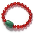 A Grade Round Carnelian and Dump Shape Green Turquoise Stretch Bangle Bracelet