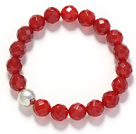 A Grade Faceted 10mm Red Carnelian and Silver Bead Stretch Bangle Bracelet