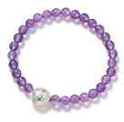 Round 6mm Amethyst and Silver Fish Accessory Stretch Bangle Bracelet