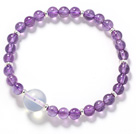 Round Amethyst and Opal Crystal Stretch Bangle Bracelet