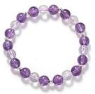 Assorted 8mm Round Amethyst and Clear Crystal Beaded Stretch Bangle Bracelet