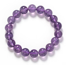Round Amesthyst Beaded Stretch Bangle Bracelet (6mm, 8mm or 10mm )