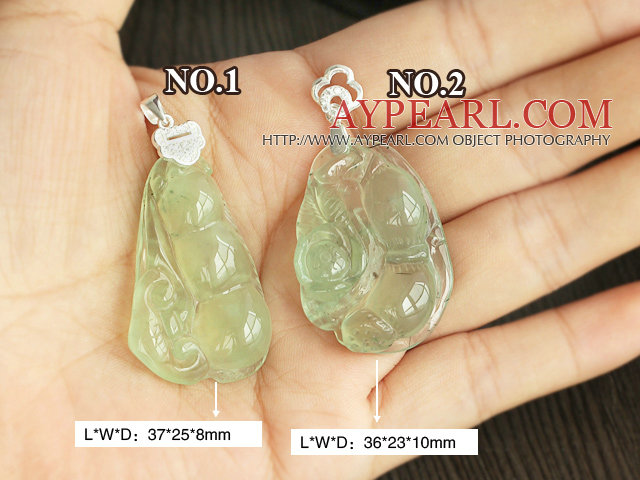 A Grade Prehnite Pea Shape Pendant with Sterling Silver Chain ( You can choose one from two designs)