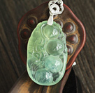 A Grade Prehnite Pea Shape Pendant with Sterling Silver Chain ( You can choose one from four designs)