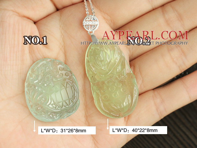A Grade Prehnite Animal Shape Pendant with Sterling Silver Chain ( You can choose one from the two designs)