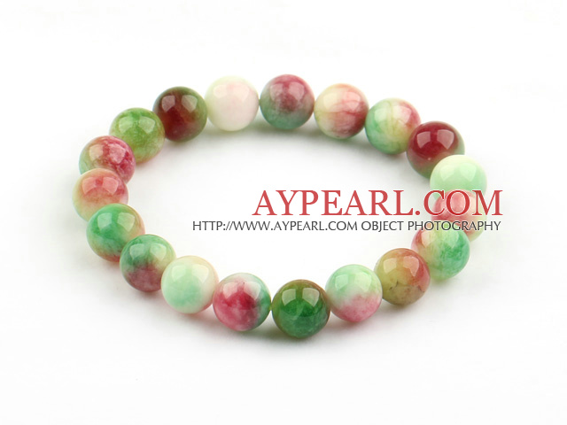 Pink Series 10mm Round Watermelon Chalcedony Elastic Bangle Bracelet