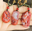 Animal Shape Southern Carnelian Pendant Necklace with Adjustable Cord ( You can choose one from the three pendant )